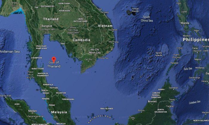 Ubicación de la plataforma petrolera donde se encontró un perro nadando en el mar en el Golfo de Tailandia. (Captura de pantalla/mapas de Google)