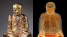 Tomografía revela que estatua de buda esconde una momia meditando en su interior