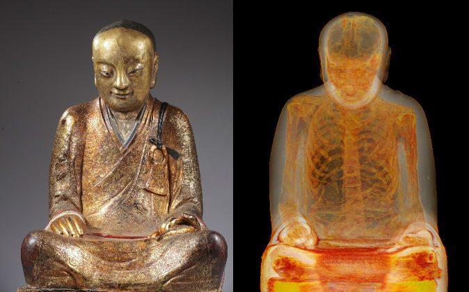 La momia del maestro budista Liuquan, mostrada dentro de una estatua de Buda mediante tomografías computarizadas. (M. Elsevier Stokmans, Cortesía de Drents Museum)