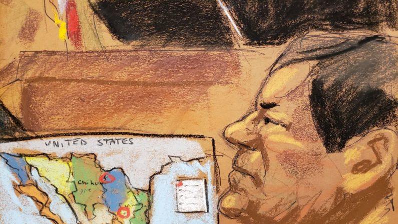 """Reproducción fotográfica de un dibujo realizado por la artista Jane Rosenberg donde aparece el narcotraficante mexicano Joaquín """"El Chapo"""" Guzmán, junto a un mapa de México, durante audiencia, el jueves 3 de enero de 2019, en el tribunal del Distrito Sur en Brooklyn, Nueva York (EE.UU.). (EFE/Archivo)"""