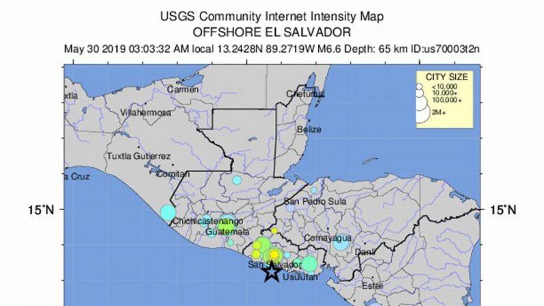 Mapa geológico de la localización del terremoto de magnitud 6,8 en la escala abierta de Richter que sacudió de madrugada este jueves El Salvador. Créditos: (EFE/Servicio Geológico de Estados Unidos)