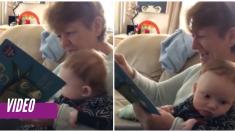 Abuela intenta leer a su nieto un cuento pero estalla de risa y no puede continuar