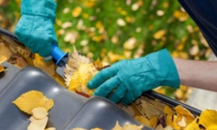 Foto ilustrativa de una persona limpiando una canaleta sucia con hojas. (Energy.gov)