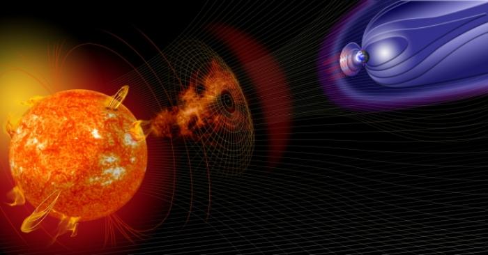 Ilustración artística de eventos en el sol que cambian las condiciones en el espacio cercano a la Tierra. Crédito de imagen: NASA