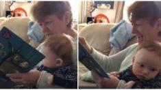 Abuela intenta leer a su nieto el cuento de un burrito cojo pero estalla de risa y no puede continuar
