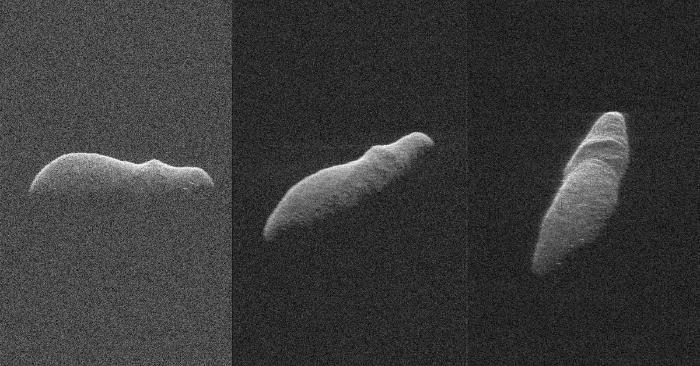 Estas tres imágenes de radar del asteroide cercano a la Tierra 2003 SD220 fueron obtenidas entre el 15 y el 17 de diciembre. Foto de NASA/JPL-Caltech/GSSR/NSF/GBO