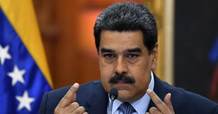 El líder chavista Nicolás Maduro durante una conferencia de prensa en el palacio presidencial de Miraflores en Caracas, Venezuela, el 9 de enero de 2019. (YURI CORTEZ/AFP/Getty Images)