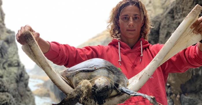 Daida e Iballa Ruano compartieron en las redes sociales este viernes las imágenes de una tortuga muerta debido al plástico. Foto cortesia de Daida e Iballa Ruano @morenotwins