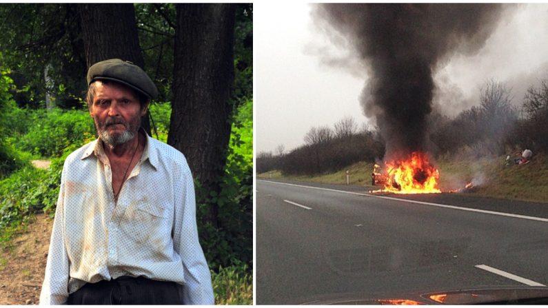 Héroes sin hogar arriesgan su vida para sacar a un conductor de su auto en llamas