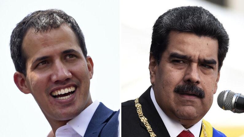 El presidente encargado venezolano Juan Guaido (izq.) sonriendo durante una reunión con partidarios en Caracas el 2 de febrero de 2019 y el dictador venezolano Nicolás Maduro pronunciando un discurso durante la ceremonia de las Fuerzas Armadas Nacionales Bolivarianas (FANB) en el Complejo Militar Fuerte Tiuna en Caracas el 10 de enero de 2019. (STF/AFP/Getty Images)
