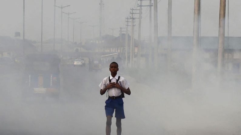 """Un colegial camina entre el humo y los humos emitidos por un vertedero en la ciudad de Port Harcourt, Estado de Rivers, el 14 de febrero de 2017.  La ciudad nigeriana de Port Harcourt solía ser conocida como """"La Ciudad Jardín"""" por sus palmeras y sus espacios verdes abiertos. Imagen de archivo. (PIUS UTOMI EKPEI/AFP/Getty Images)"""