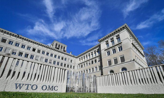 La sede de la Organización Mundial del Comercio (OMC) en Ginebra, el 12 de abril de 2018. (Fabrice Coffrini/AFP/Getty Images)