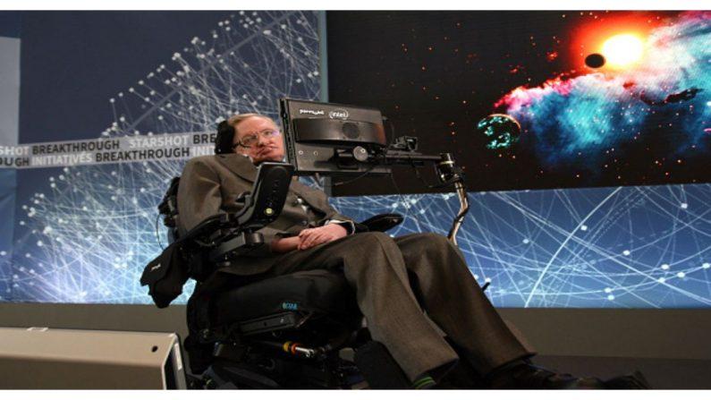 """El profesor Stephen Hawking en el escenario durante el anuncio de la Nueva Iniciativa de Exploración Espacial """"Breakthrough Starshot"""" en el Observatorio One World el 12 de abril de 2016 en la ciudad de Nueva York. (Crédito: Jemal Countess/Getty Images)"""