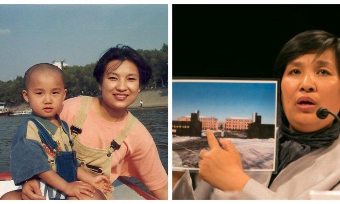 Yin Liping (Izq) y su hijo antes de la persecución contra los practicantes de Falun Dafa que comenzó en 1999. Yin Liping (Der) sostiene una foto del campo de trabajo forzado de Masanjia en una audiencia en Washington, el 14 de abril de 2016. (Lisa Fan/La Gran Época; Minghui.org)