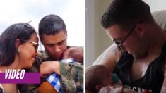 Estos marines que no pudieron ver nacer a sus bebés se quiebran al conocerlos por primera vez