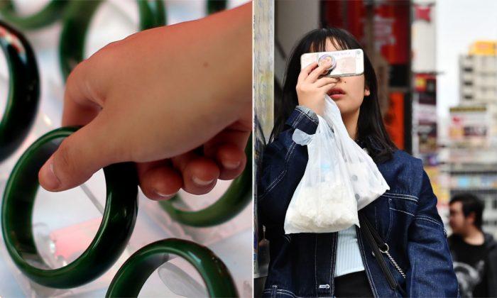 (Izq.) Pulseras de jade. (Lintao Zhang/Getty Images) | (Der.) Mujer usando un smartphone. (Charly Triballeau/AFP/Getty Images)