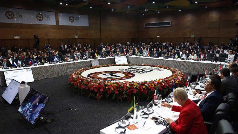 Vista general de la reunión del Grupo de Revisión de la Implementación de Cumbres (GRIC) este jueves, durante la 49 Asamblea General de la OEA, en Medellín (Colombia). EFE