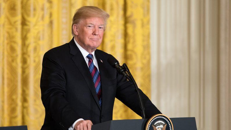 El presidente Donald Trump en una conferencia de prensa en la Casa Blanca en Washington el 3 de abril de 2018. (Créditos: Samira Bouaou/La Gran Época)