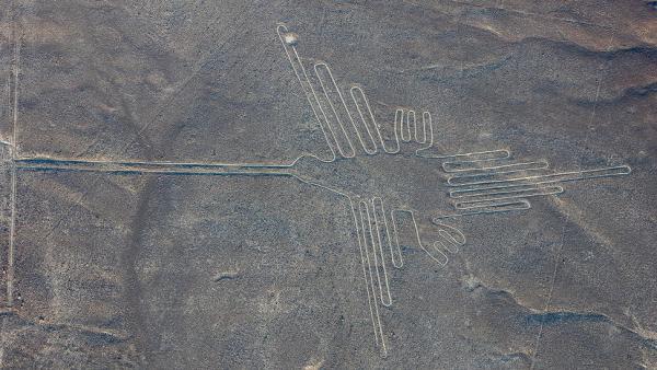 Pájaro dibujado en Nazca, Perú. (DIEGO DELSO / WIKIPEDIA)