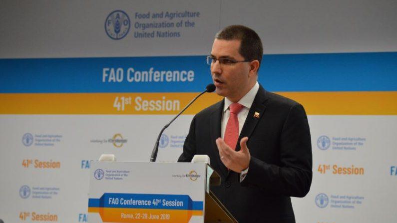 El canciller de Maduro, Jorge Arreaza el 26 de junio de 2019 en un discurso ante la FAO. (Gobierno de Venezuela)