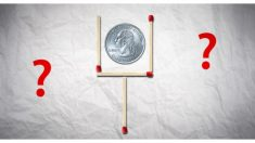 Reto mental: ¿Puedes quitar 2 fósforos y dejar la moneda afuera pero manteniendo la misma forma?
