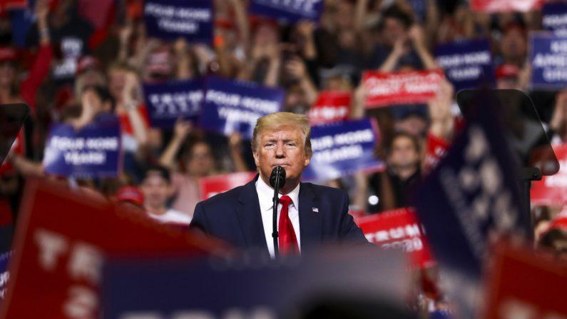 El presidente Donald Trump en su evento de reelección de 2020 en Orlando, Florida, el 18 de junio de 2019. (Charlotte Cuthbertson/La Gran Época)