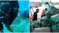 Equipo de 633 buzos recoge 1400 kilos de basura submarina estableciendo un nuevo récord mundial