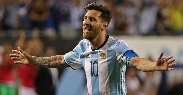 Lionel Messi de Argentina celebra un contra Panamá en la Copa América Centenario 2016, en Chicago, Illinois. Foto de Jonathan Daniel/Getty Images.