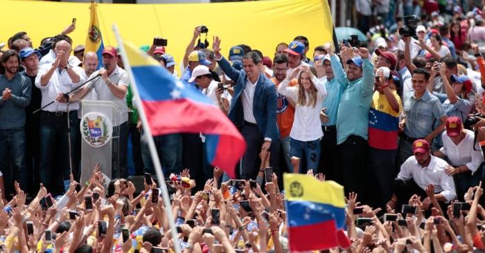 El presidente encargado de Venezuela, Juan Guaidó, durante su visita a Mérida el sábado, 15 de junio de 2019. Foto del Centro de Comunicación Nacional de la Presidencia de VE/Twitter.