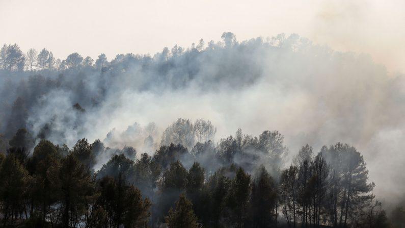 Un incendio forestal español se produjo fuera de control en medio de una ola de calor europea, devorando tierras mientras cientos de bomberos combatían durante la noche, el 27 de junio de 2019. (PAU BARRENA/AFP/Getty Images)