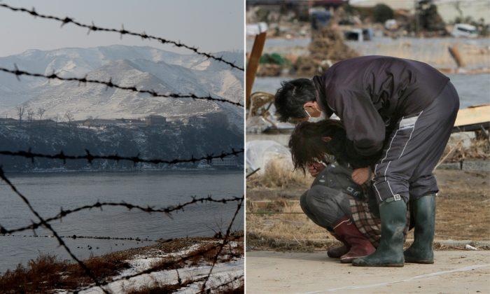 (Izq) Una cerca de alambre de púas en el noreste de China. (Mark Ralston/AFP/Getty Images) -- (Der) Un hombre consolando a una mujer. (Jiji Press/AFP/Getty Images)
