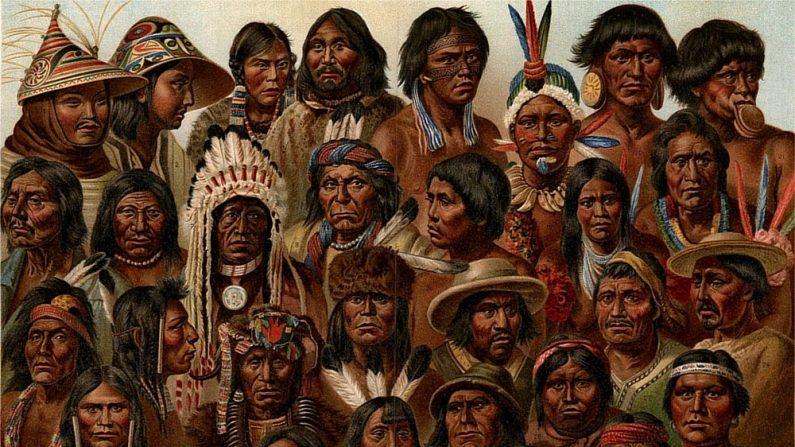 Rostros de 33 grupos indígenas de América. (Bibliographisches Institut, Leipzig-Wikimedia Commons)