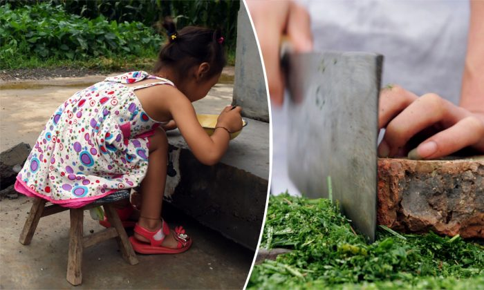 (Izquierda) Una niña comiendo una comida. (Greg Baker/AFP/Getty Images) -- (Derecha) Un chef con una cuchilla. (Fotos de China/Imágenes de Getty)