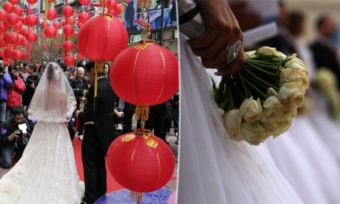Izquierda) Una boda pública en Hong Kong. (Dale De La Rey/AFP/Getty Images) -- (Derecha) Una novia sosteniendo flores. (Patrick Baz/AFP/Getty Images)