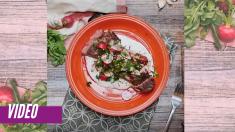 Delicioso lomo con tomate cherry y un exquisito toque aromático para deleitarte