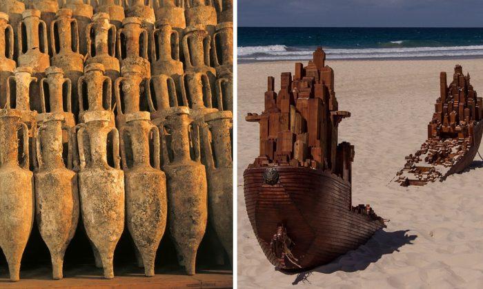 Imagen de archivo de ánforas romanas. (Stux/Pixabay) y la imagen de una escultura de un naufragio (Sandid/Pixabay).