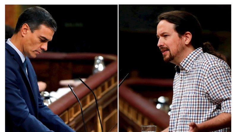 El presidente del Gobierno en funciones y candidato socialista a la presidencia del Gobierno, y el líder de Unidas Podemos, Pablo Iglesias (d), durante la segunda y definitiva votación para la investidura de Pedro Sánchez en el Congreso. EFE/Ballesteros/Emilio Naranjo.