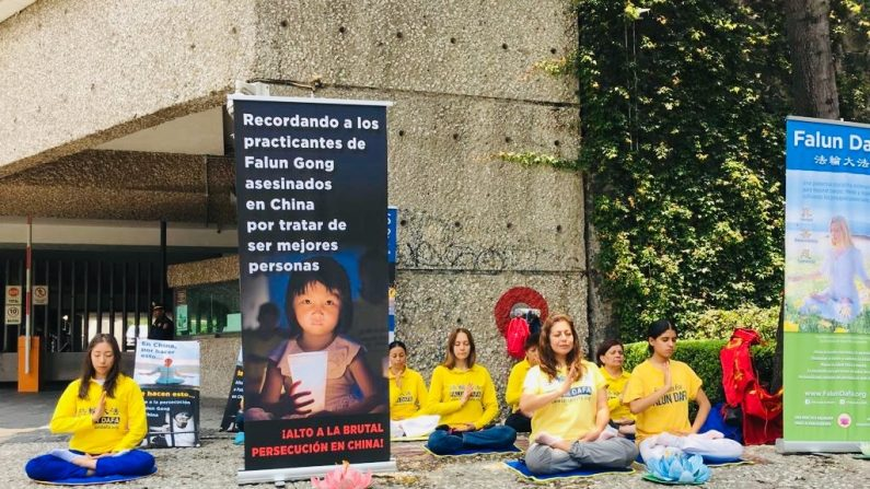 El 19 de julio de 2019 los practicantes pidieron frente a la embajada de China en México que termine la persecución a millones de personas que en China no son libres de practicar Verdad, Benevolencia y Tolerancia. (Crédito: LGE)