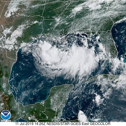 Imagen satelital de la tormenta tropical Barry en su paso por el Golfo de Mexico el 11 de julio de 2019. (noaa.gov)