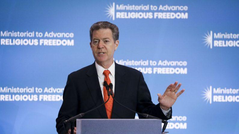 Sam Brownback, Embajador de los Estados Unidos para la Libertad Religiosa Internacional, en la Conferencia Ministerial para Promover la Libertad Religiosa en el Departamento de Estado en Washington el 16 de julio de 2019. (Samira Bouaou/La Gran Época)