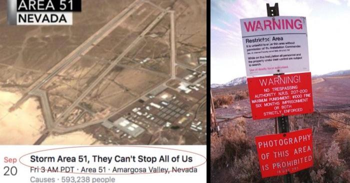 (De izquierda a derecha) Una captura de pantalla del evento de Facebook que pide un asalto del Área 51, y una foto del 12 de marzo de 2000 que muestra una señal de advertencia que marca el límite del Área 51, en Rachel, Nevada. (Dan Callister/Getty Images)