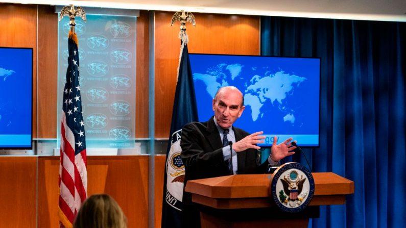 El Representante Especial de Estados Unidos para Venezuela, Elliott Abrams, durante una sesión informativa en el Departamento de Estado el 25 de junio de 2019 en Washington, D.C. (ALEX EDELMAN/AFP/Getty Images)