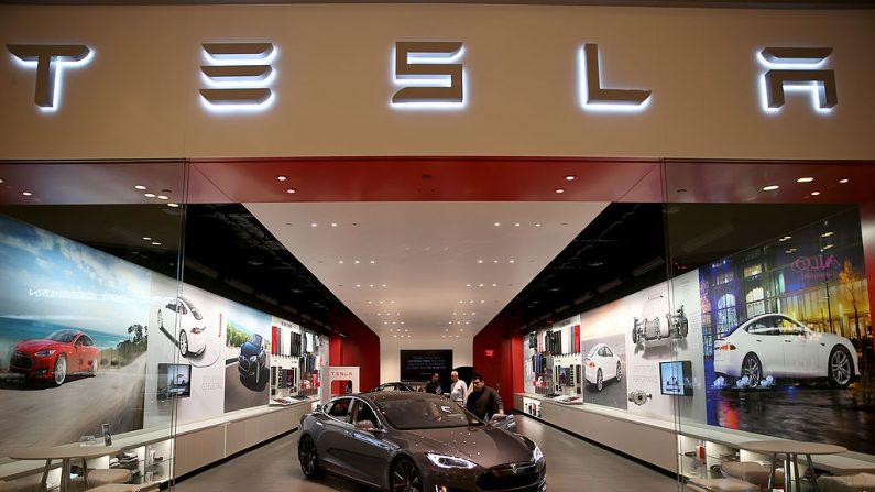 Un vehículo de Tesla Motors en el showroom del centro comercial Dadeland Mall en Miami, Florida, el 19 de febrero de 2014. (Joe Raedle/Getty Images)