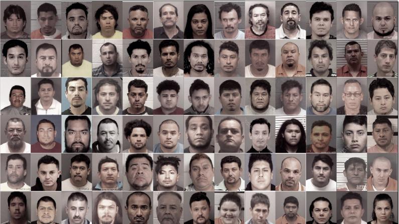 Fotografías de extranjeros ilegales que fueron arrestados por denuncias de delitos sexuales contra niños en Carolina del Norte entre octubre de 2018 y junio de 2019.