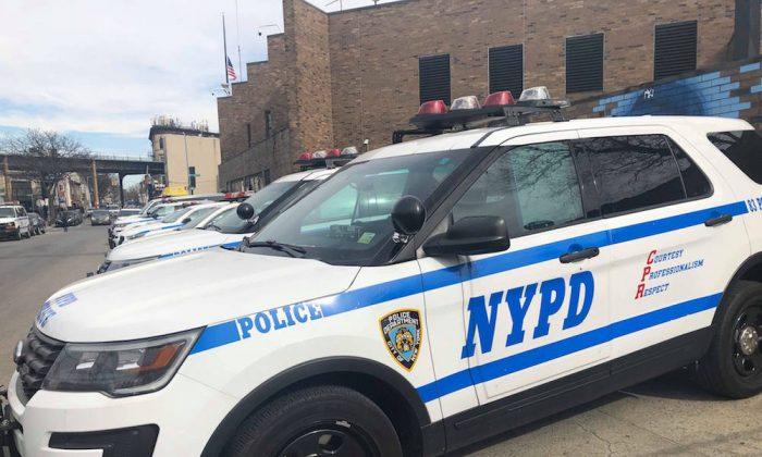 Un vehículo de la policía de Nueva York en Brooklyn, Nueva York, el 17 de febrero de 2019. (Mimi Nguyen Ly/NTD News)