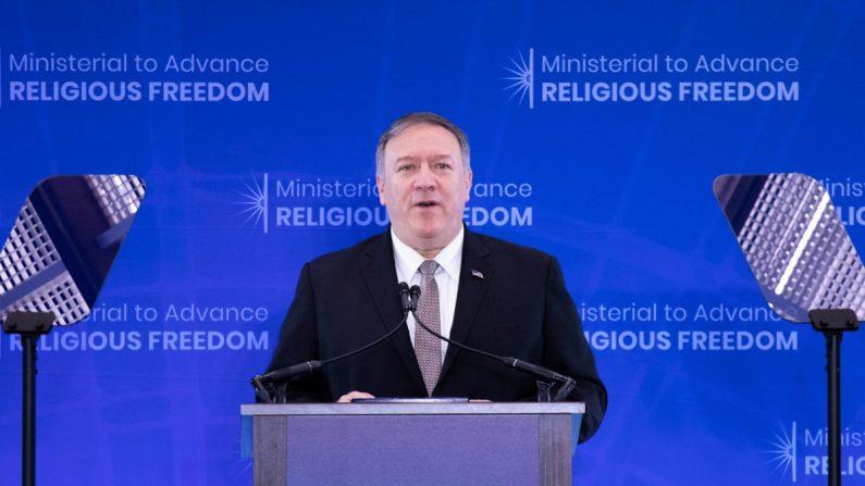 El Secretario de Estado Mike Pompeo pronunció un discurso en la Conferencia Ministerial para Promover la Libertad Religiosa en Washington DC el 18 de julio de 2019. (Lynn Lin/La Gran Época)