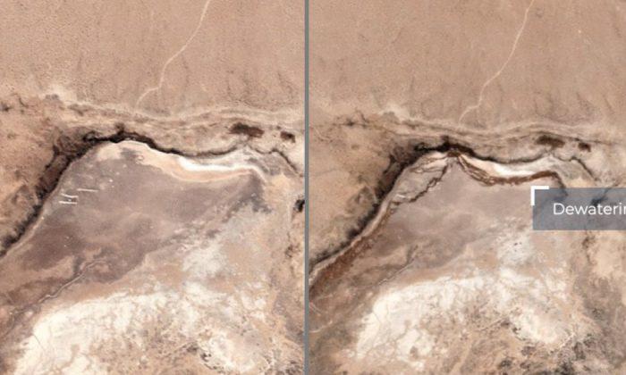 Una ruptura en la superficie de la tierra aparece cerca de Ridgecrest, California, el 6 de julio de 2019. (Planet Labs/Twitter)