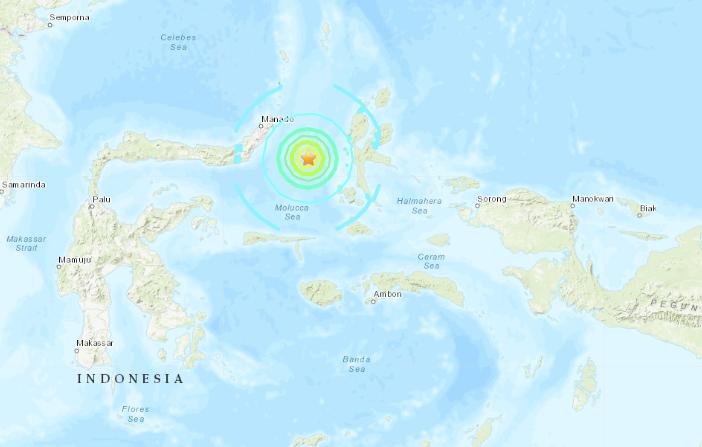 Epicentro del terremoto 6,9 grados en Indonesia el 7 de julio de 2019 a las 23:10 hora local (USGS)
