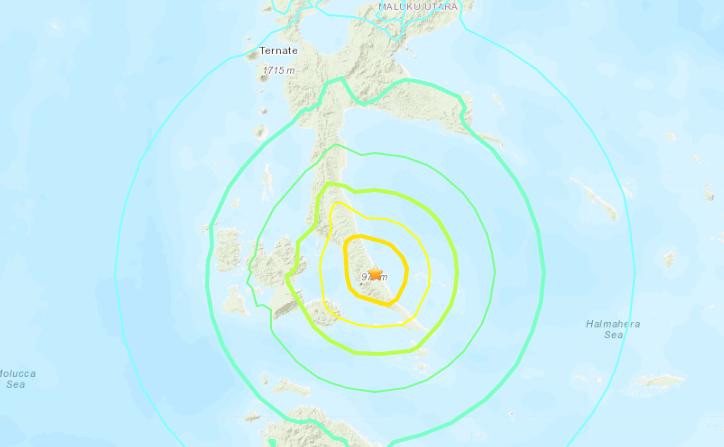 Terremoto en Indonesia de 7,1 grados en 14 de julio de 2019. (USGS)