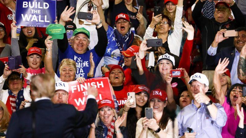 """El presidente Donald Trump en un mitin de """"Make America Great Again"""" en El Paso, Texas, el 11 de febrero de 2019. (Charlotte Cuthbertson/La Gran Época)"""